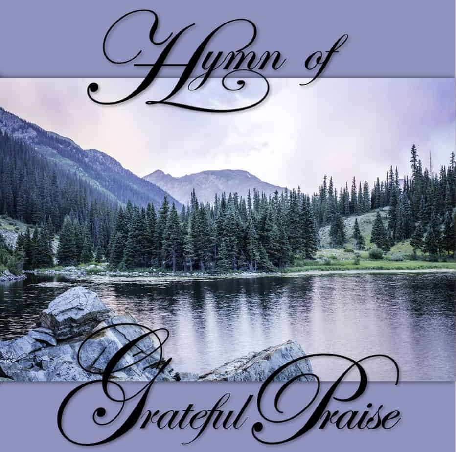 Hymn of Grateful Praise - Front Cover Pastel Lake with bars