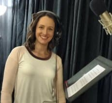 Katie in the recording room