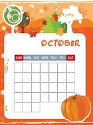 October Calendar Small